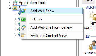 Adding a new website in IIS Manager