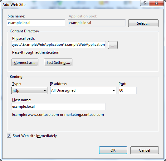 Configuring the new website in IIS Manager