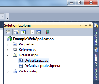 The Solution Explorer in Visual Web Developer Express