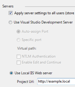 Setting up debugging for local IIS