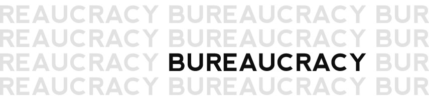 An image showing the word 'Bureaucracy' repeated over and over